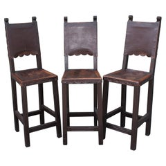 Spanish Style Bar Stools with Leather Seats -3