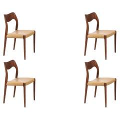 Arne Hovmand-Olsen Model-71 Teak & Leather Dining Chairs for J.L. Møllers