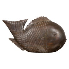 Vintage Thai Carved Wooden Carp Sculpture with Detailed Scales and Dark Patina