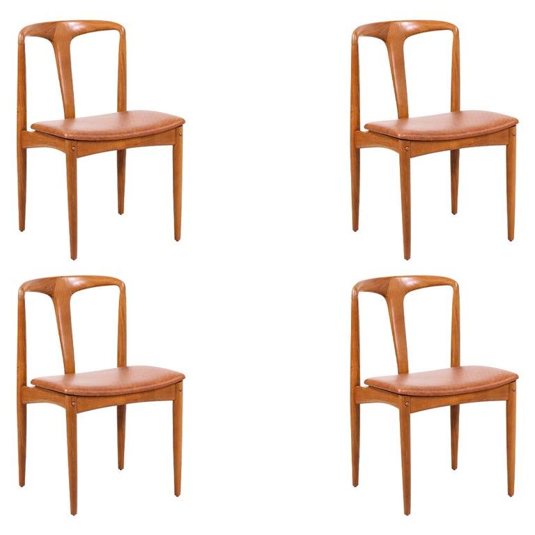 "Johannes Andersen ""Juliane"" Teak & Leather Dining Chairs for Uldum Møbelfabrik For Sale"