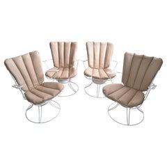 Homecrest Vintage Mid-Century Modern Metal Patio Swivel Lounge Chairs, Set of 4