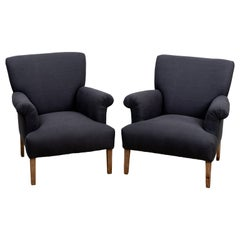 Pair of Armchairs in Charcoal Linen