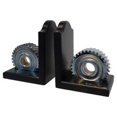 Chromed Industrial Gear / Wood Bookends
