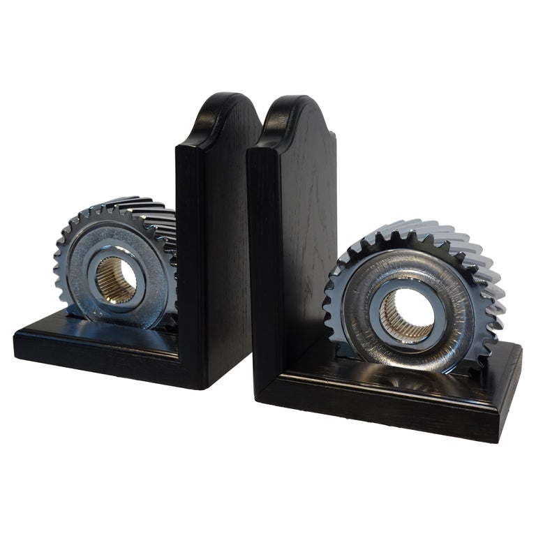 Chromed Industrial Gear / Wood Bookends For Sale