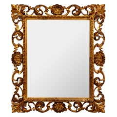 Hollywood Regency Seashell Motif Italian Gilt Finish Mirror