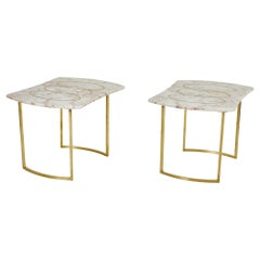 Pair of Brass Inlaid Marble Top Side Tables on Brass Bases