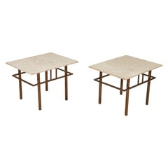 Pair of Brass and Marble Side Tables by S.J. Campbell Chicago