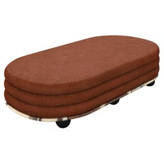 Gold Marble & Rust Mohair Large Ottoman