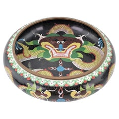 Large Antique Chinese Cloisonnae Imperial Dragon Decorated Bowl