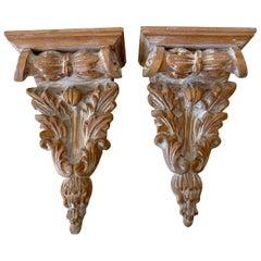Pair of Diminutive Italian Neoclassical Bleached Pine Wall Brackets/Shelves