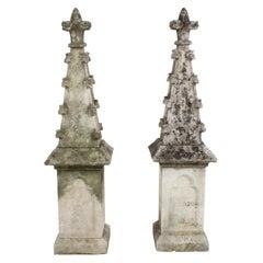 Pair of 19th Century Limestone Gothic Steeples Architectural Salvage, Garden