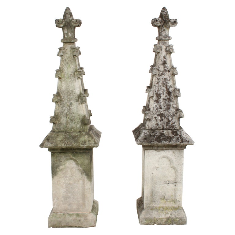 Pair of 19th Century Limestone Gothic Steeples Architectural Salvage, Garden For Sale