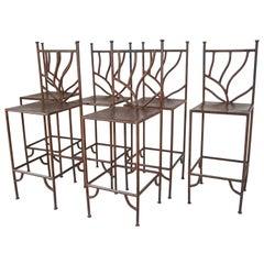 Spanish Wrought Iron Barstools with Back Set of Six
