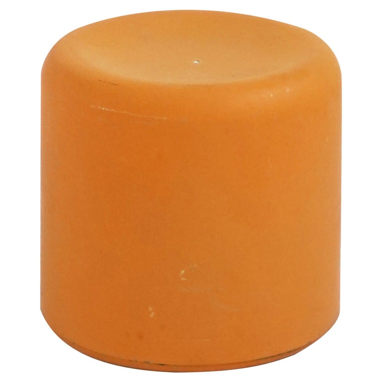 Fiberglass Stool in Orange-Yellow For Sale