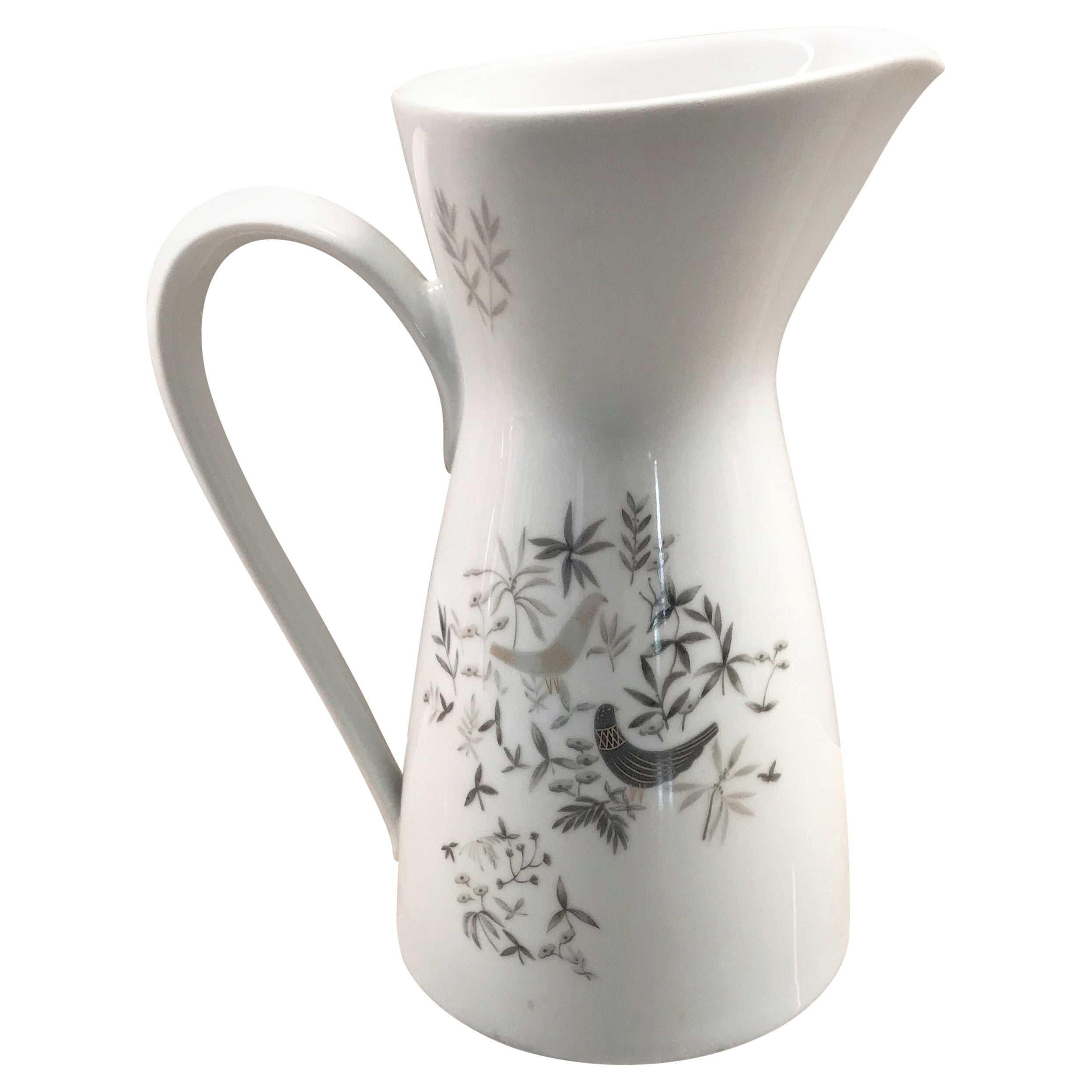 Modern Birds on Trees Water Pitcher by Raymond Loewy for Rosenthal, 1960s