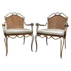 Neoclassical Grace Armchairs in Gilded Iron and Woven Cane by Arturo Pani 1950s