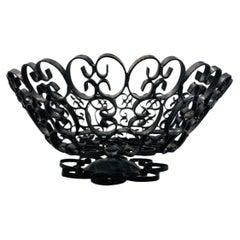 Mid-Century Modern Umanoff Grenada Style Brutalist Black Iron Bowl
