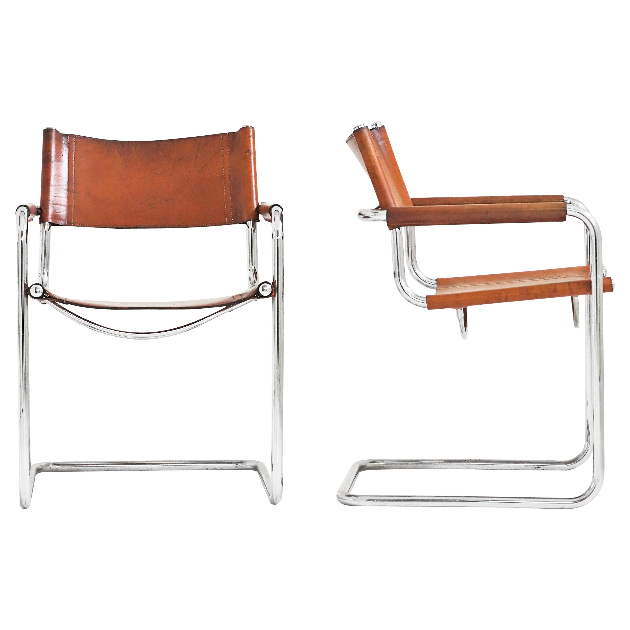 Set of 4 Leather Cantilever Chairs in the Style of Matteo Grassi