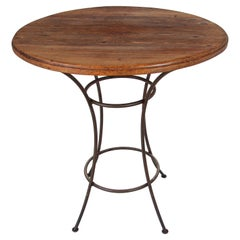 Handcrafted Wood Top Bar Height Table with Wrought Iron Forged Base
