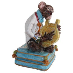 Majolica Terra Cotta Large Figure of a Monkey Playing the Harp