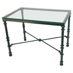 Glass Top Coffee Table with Metal Verdigris Finish Patina