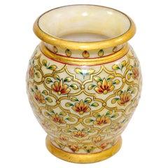 Mughal Style Makrana Marble Hand Painted Vase