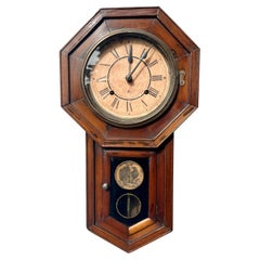 Antique Victorian Eight Day Drop Dial Wall Clock 1890