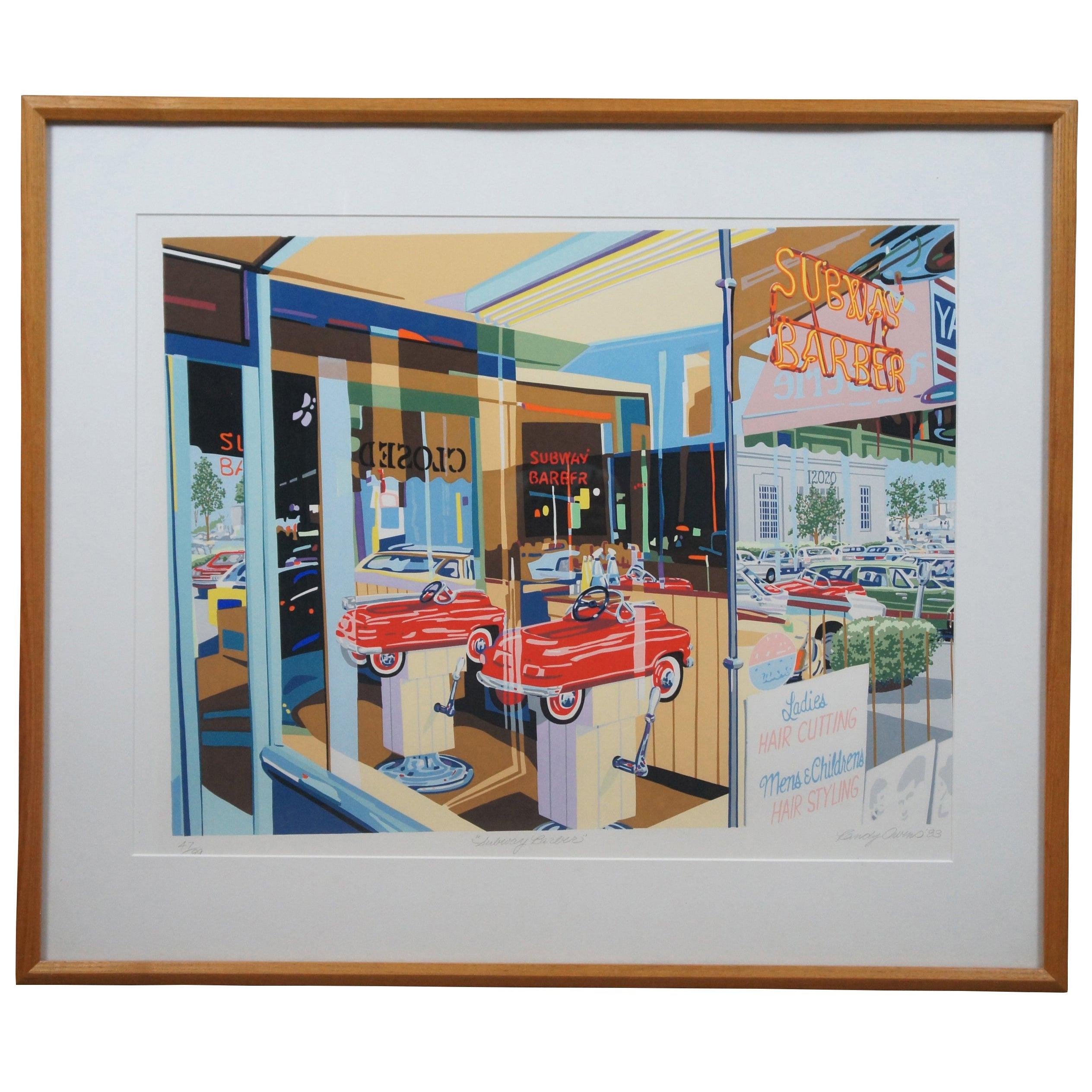 1983 Randy Owens Pencil Signed Subway Barber Serigraph Print
