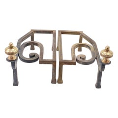 Andirons, Brass and Iron, France 20th Century