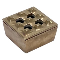 Ashtray by Beck and Yung, in Solid Brass, Sweden, 1970, with Graphic Patterns