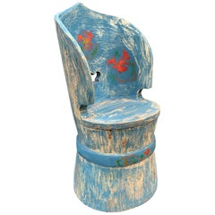 Swedish Painted Folk Art Kubbstol Chair