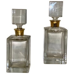 Superb Pair Mappin & Webb Mid Century Silver Mounted Glass Spirit Decanters