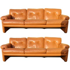 "Pair of Tobia Scarpa ""Coronado"" Light Cognac Leather Three-Seats Sofa for B&B"