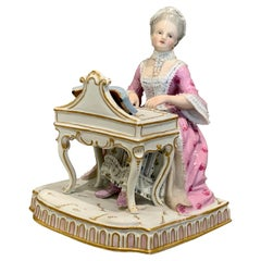 Meissen Model of a Woman Emblematic of 'hearing' from a Series of the Senses