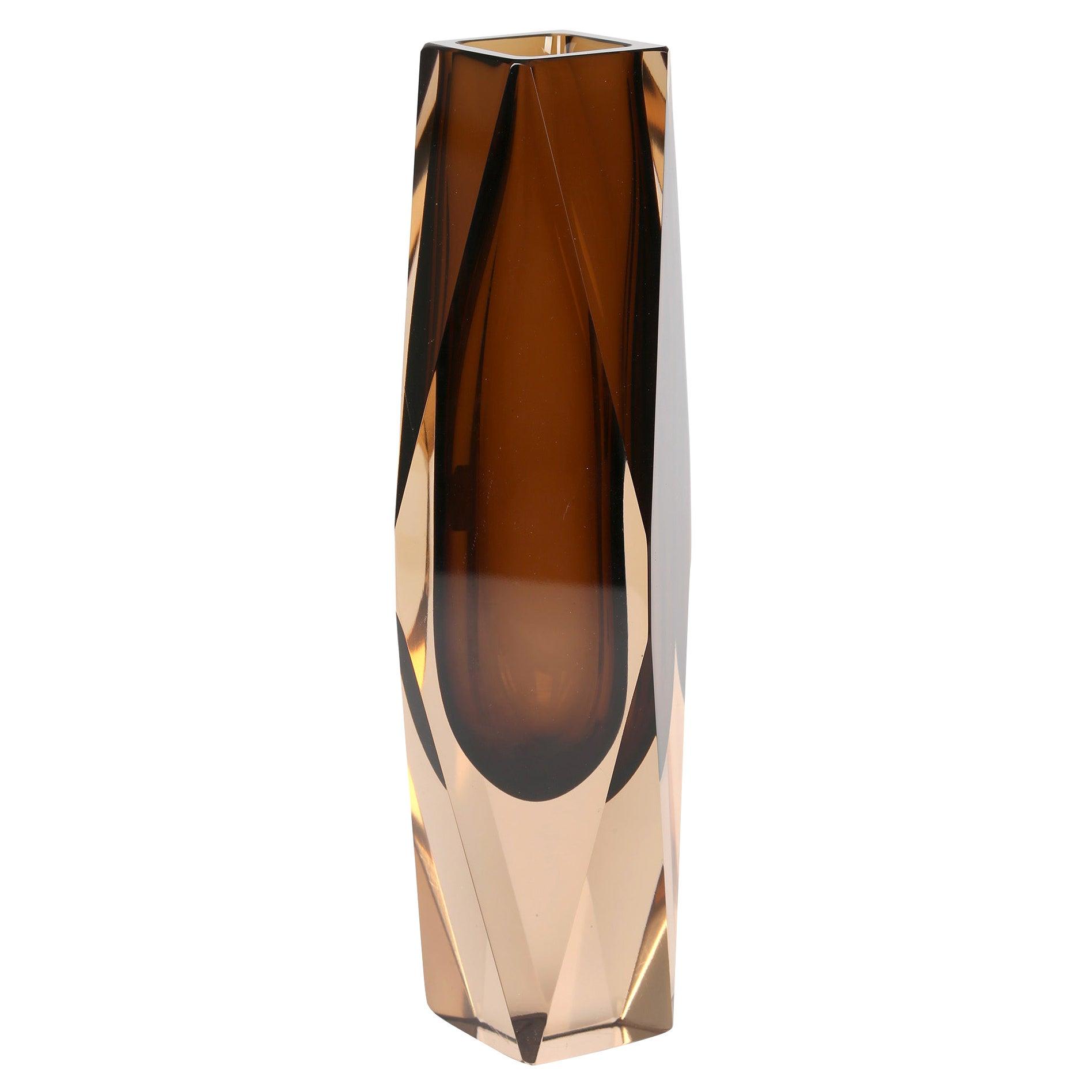V Nason & C Murano Cinnamon Sommerso Faceted Art Glass Vase