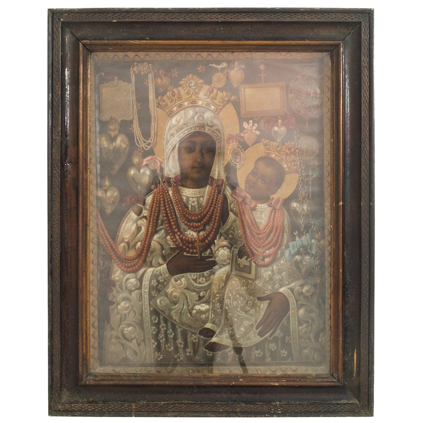 Vintage Central European Madonna with Wooden Frame