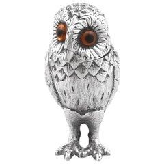 1960s Vintage Sterling Silver Owl Pepperette