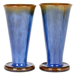 Denby Danesby Art Deco Pair Blue Streak Glazed Stoneware Vases