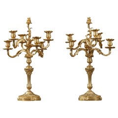 Pair of Rocaille Style Candelabras in Gilt Bronze