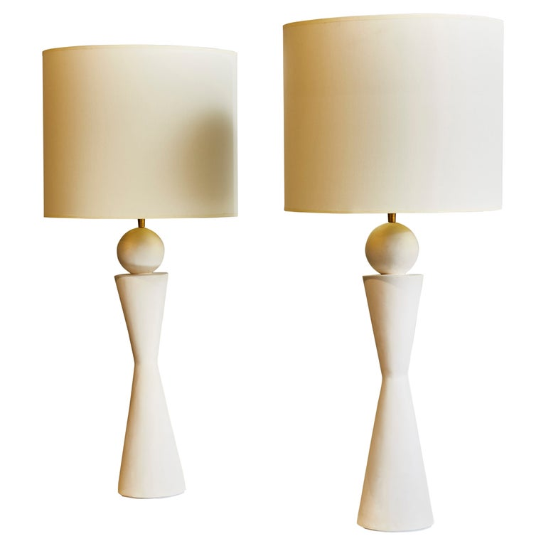 Pair of Hourglass Plaster Table Lamps For Sale