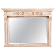 1900s Belgian Bleached Oak Mantel Mirror