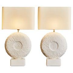 Pair of Circular Plaster Table Lamps