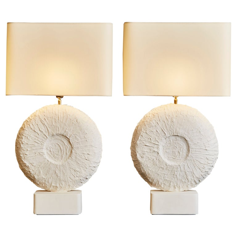Pair of Circular Plaster Table Lamps For Sale