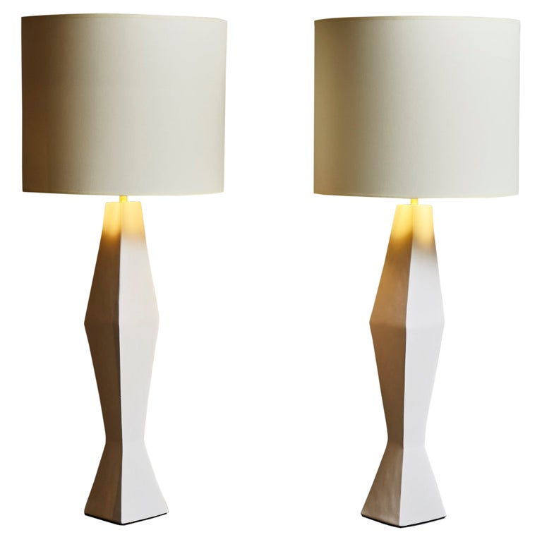 Pair of Asymetrical Plaster Table Lamps For Sale