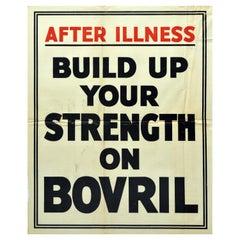 Original Vintage Poster After Illness Build Up Your Strength On Bovril Hot Drink