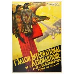 Original Vintage Poster Aeronautique Foire De Milan Aeronautics Show Eagle Plane