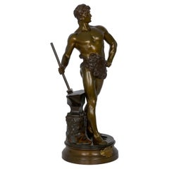 """""""Le Trevail"""" French Antique Bronze Sculpture of Blacksmith by Maurice Constant"""