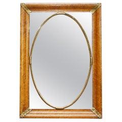 Stunning 19th Century Burr Walnut French Mirror with Giltwood Decoration