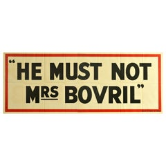 Original Vintage Poster He Must Not Mrs Bovril Word Play Pun Drink Food Campaign
