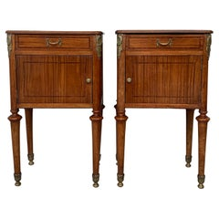 French Antique Pair of Bedside Tables or Cabinet, Nightstands, circa 1890